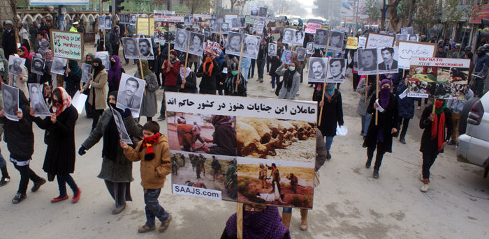 Protest of families of three decades war.